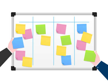 Board with Color Sticky Notes and Markers for Management. Weekly planner. Vector stock illustration