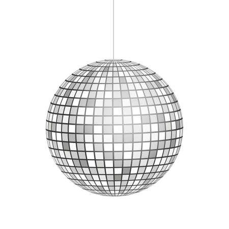 Argento palla da discoteca icona isolato su sfondo in scala di grigi. Illustrazione di riserva di vettore Vettoriali