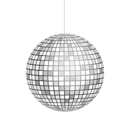 Icono de bola de discoteca plateada aislado sobre fondo de escala de grises. Ilustración vectorial de stock Ilustración de vector