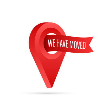 We have moved. Moving office sign. Clipart image isolated on blue background. Vector stock illustration