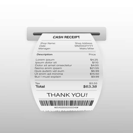 Vector Realistic 3d Paper Printed ATM Transaction Record Receipt Set Closeup Isolated on White Background.