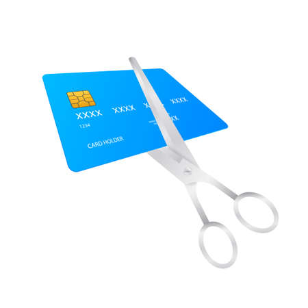 Scissors cutting credit card. Vector stock illustration
