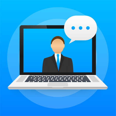 Online education, Video call, Learning tutorial, Internet courses. Vector stock illustration Ilustracja