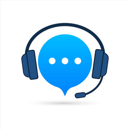 Online support service. Headphones with microphone and chat speech bubble. Vector stock illustration Illustration