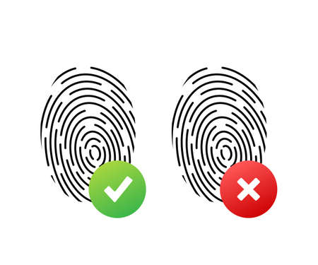 Fingerprint simple round icon, accepted and rejected state authentication