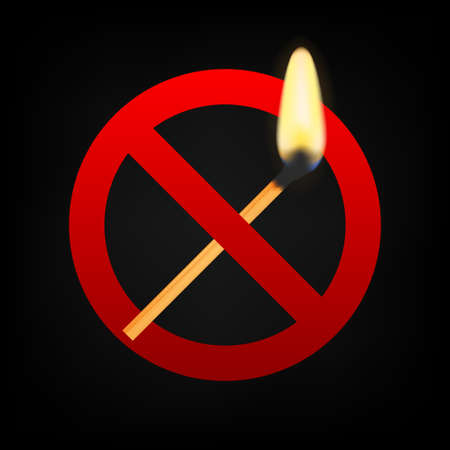 No fire. Burning match crossed in red circle. Vector stock illustration
