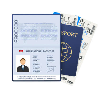 Passport with tickets. Air travel concept. Flat Design citizenship ID for traveler isolated. Vector stock illustration Vettoriali