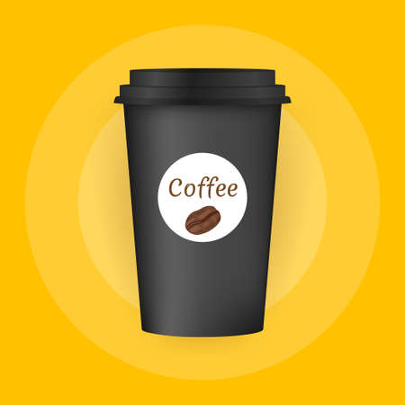 Close up take-out coffee with brown cap and cup holder. Isolated on white background. Vector Illustration