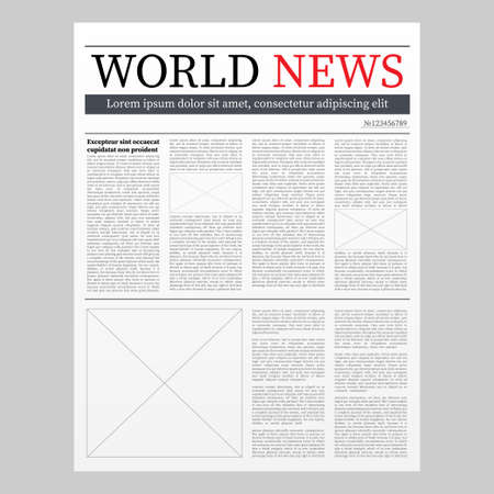 Vector mock up of a blank daily newspaper. Fully editable whole newspaper in clipping mask. Vector illustration.