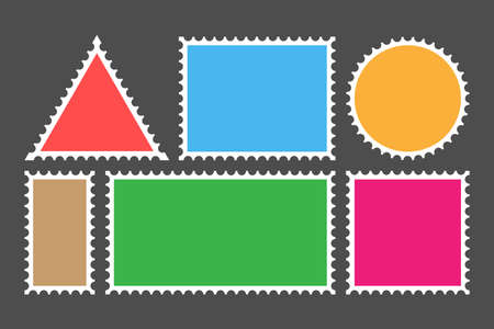 Postage stamp template. Set of blank stamps. Vector stock illustration