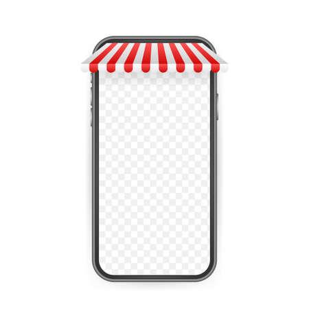 Shopping Online on Website. Online store, shop concept on smartphone screen. Vector stock illustration