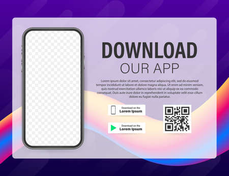 Download page of the mobile app. Empty screen smartphone for you app. Download app. Vector stock illustration.
