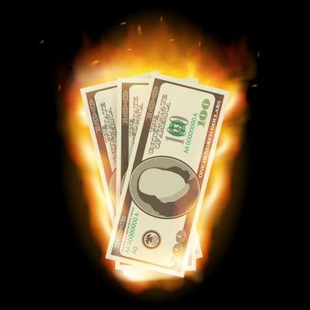 Brennender Dollar auf schwarzem Hintergrund für Design. Vektorgrafik auf Lager