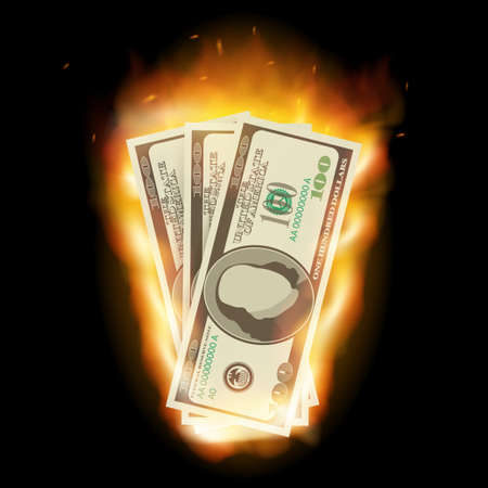Burning dollar on a black background for design. Vector stock illustration