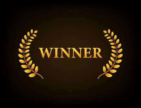 Winner golden laurel wreath on black background. Vector illustration. Vecteurs