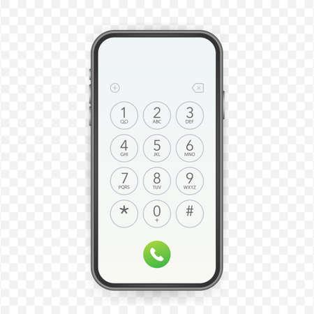 Keypad for on smartphone screen. Application Interface on mobile phone. Vector stock illustration Vecteurs