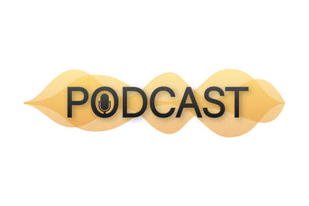 Podcast. Badge, icon stamp logo Vector stock illustration Ilustracja