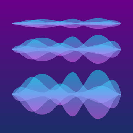 Sound waves set. Personal assistant and voice recognition. Vector stock illustration