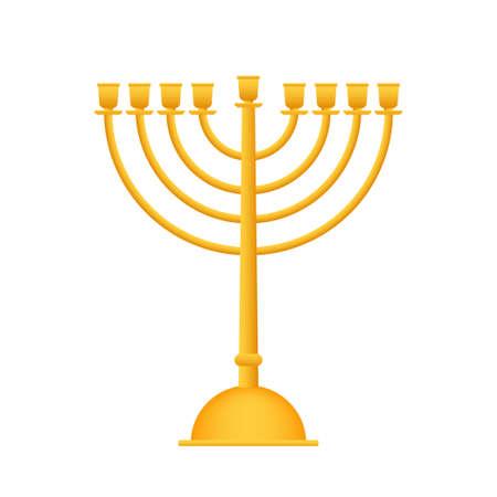 Realistic Gold Hanukkah menorah icon on white background. Vector stock Illustration.
