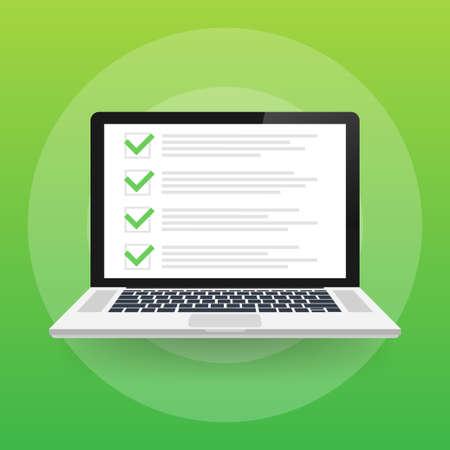 MobileChecklist browser window. Check mark. White tick on laptop screen. Choice, survey concepts. Vector stock illustration