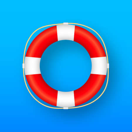 Realistic Style, lifebuoy Isolated on blue Background. Vector stock illustration