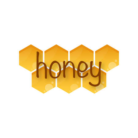 Honey word with honeycomb. Vector stock illustration. Ilustrace