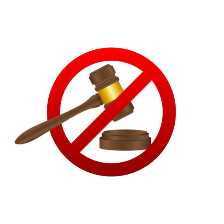 No to law. Stop sign icon. Auction hammer prohibited. Judge gavel icon. Vector stock illustration