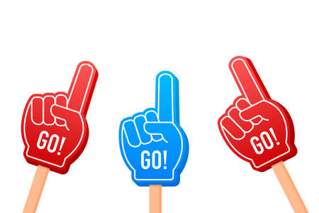 Cartoon Fan Foam Color Gloves on Hands. Hand up with Go. Vector stock illustration
