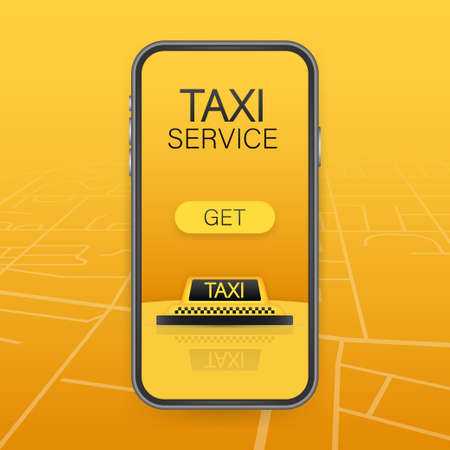 Get a taxi. Taxi banner. Online mobile application order taxi service horizontal illustration. Vector stock illustration