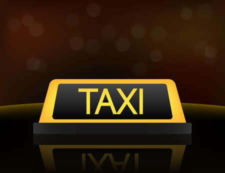 Yellow taxi car roof sign at night. Vector stock illustration