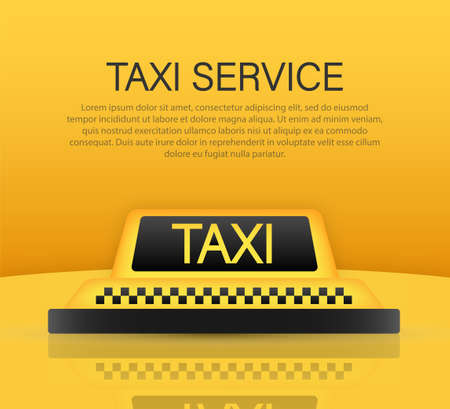Taxi service concept. Taxi car roof. Yellow banner, poster or flyer background template. Vector stock illustration