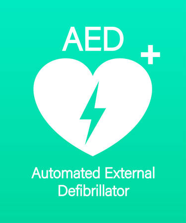 Emergency first aid defibrillator sign. White heart icon and white cross icon. Vector stock illustration
