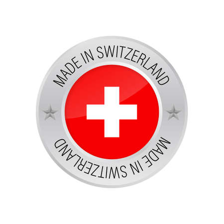 Glossy metal badge icon, made in Switzerland with flag. Vector stock illustration