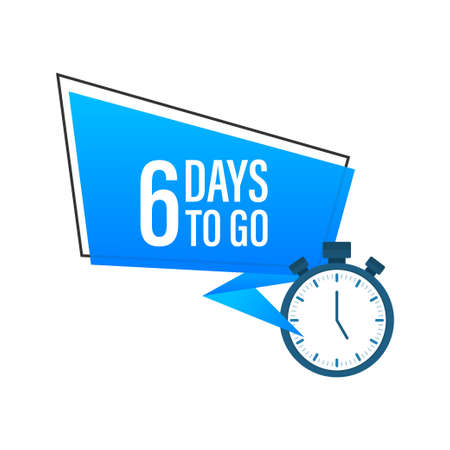 Six days to go. Flat icon. Vector typographic design. Vector stock illustration