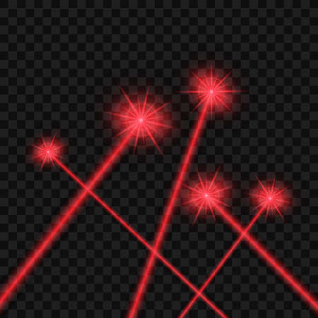 Abstract red laser beam. Isolated on transparent black background. Vector stock illustration. Vetores