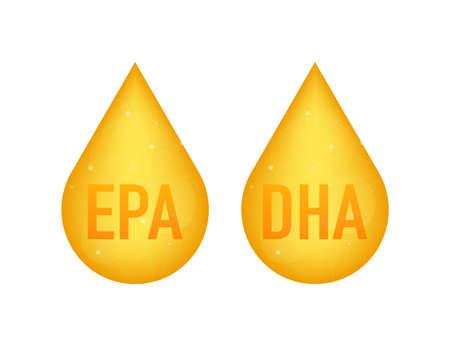 EPA, DHA Vector Drops Set. Omega Three. Organic Vitamin. Vector illustration Ilustração