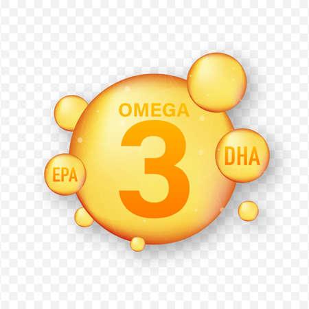 Omega Fatty Acid, EPA, DHA. Omega Three, Natural Fish, Plants Oil Vector stock illustration Ilustração