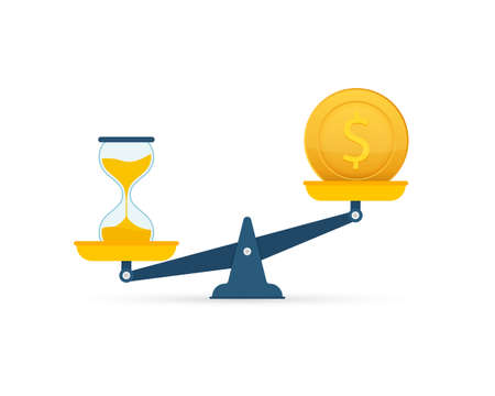 Time is money on scales icon. Money and time balance on scale. Vector stock illustration