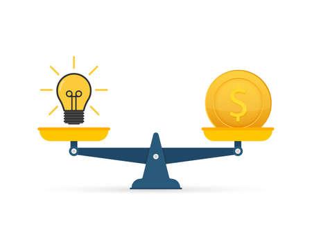 Light bulb idea and money on scales. Vector stock illustration Ilustracja