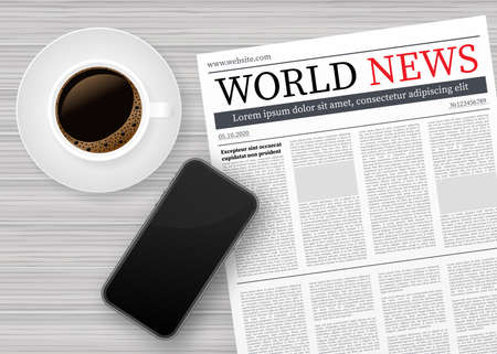 Vector mock up of a blank daily newspaper, Coffee and smartphone. Fully editable whole newspaper in clipping mask. Vector stock illustration