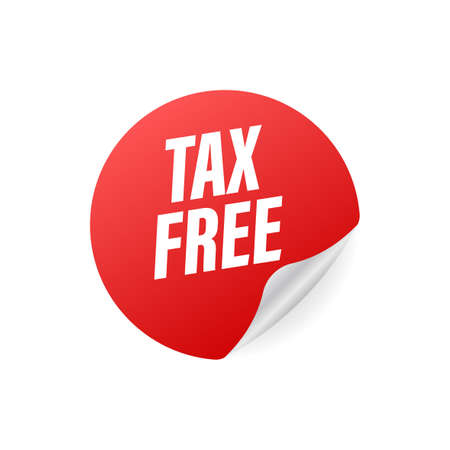 Modern red tax free sign on white background. Vector stock illustration 일러스트