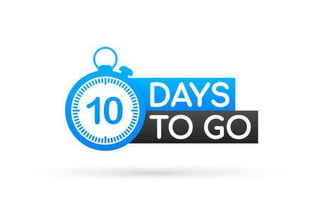 Ten days to go flat icon. Vector stock illustration 스톡 콘텐츠 - 140806712
