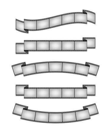 Set of vintage film strips ribbon seal design element. Vector stock illustration