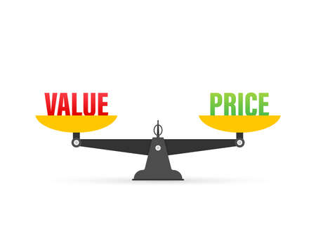 Value and Price balance on the scale. Balance on scale. Business Concept. Vector illustration