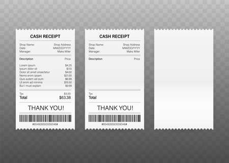 Receipts of realistic payment paper bills for cash or credit card transaction. Vector stock illustration 일러스트