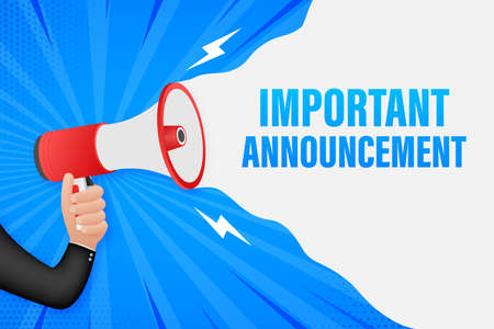 Hand Holding Megaphone with important announcement. Megaphone banner. Web design. Vector stock illustration