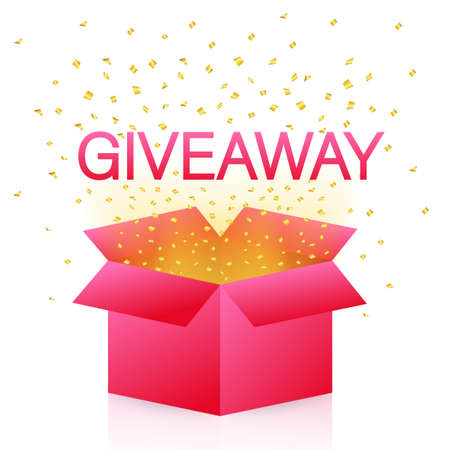 Gift box icon design template. Giveaway. Typography design. Post box. Winner banner. Vector stock illustration