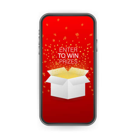 Enter to Win Prizes. Open Red Gift Box and Confetti on smartphone screen. Win Prize. Vector stock Illustration