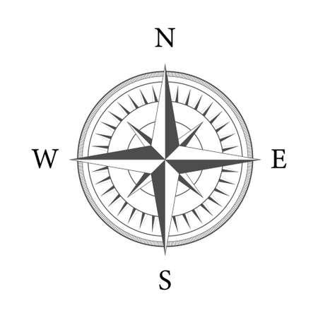 Bussola su sfondo bianco. Simbolo di navigazione piatto vettoriale. Illustrazione di riserva di vettore