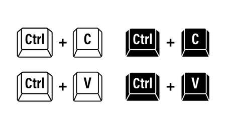 Ctrl C and Ctrl V computer keyboard buttons. Desktop interface. Web icon. Vector stock illustration
